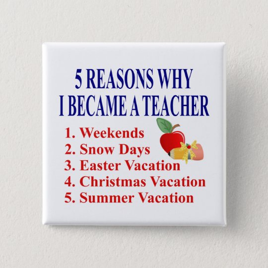 5 Reasons I Became A Teacher Funny Button