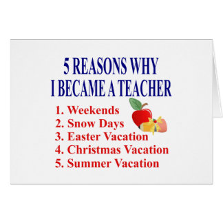 5 Reasons I Became A Teacher Funny Greeting Card