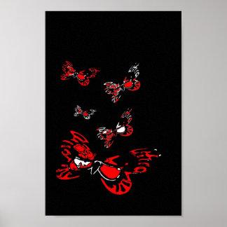 5 Red Butterflies Poster