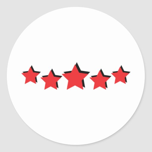 5 red stars deluxe stickers