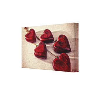 5 Red Wooden Hearts Entwined Together Canvas Print