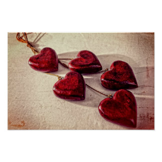 5 Red Wooden Hearts Entwined Together Poster