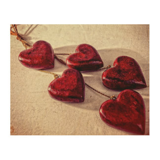 5 Red Wooden Hearts Entwined Together Wood Print