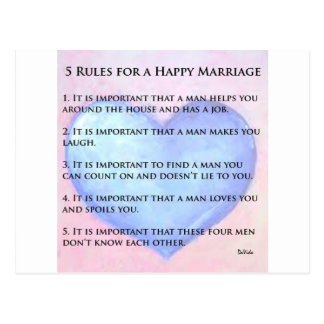 5 Rules of a Happy Marriage Postcard