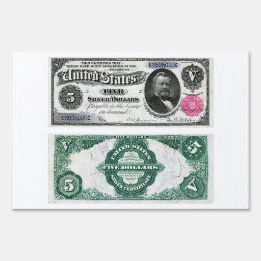 $5 series 1891 del certificado de plata del billet