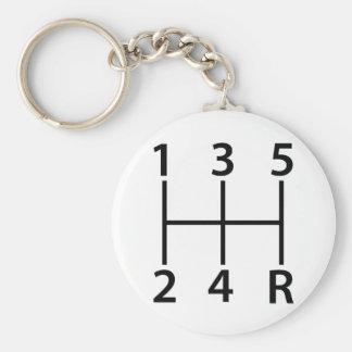 5 speed shift pattern basic round button keychain