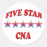 5 Star CNA Round Sticker