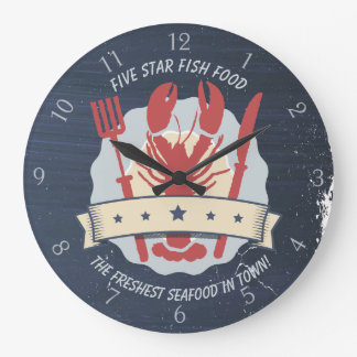 5 star lobster dinner seafood kitchen clock