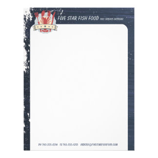 5 star lobster fork knife chalkboard chef catering letterhead