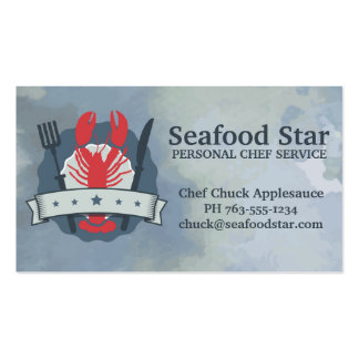 5 star lobster fork knife watercolor chef catering business card