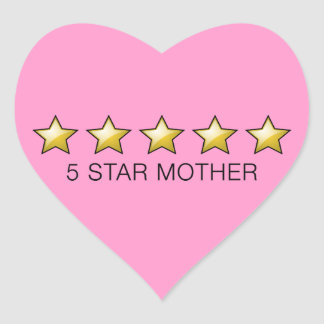 5 Star Mother - Mother's Day Gifts Heart Sticker