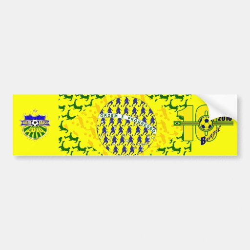 5 star soccer player flag of brazil car bumper sticker