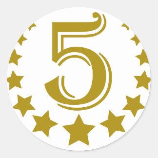 5-stars-Birthday.png Classic Round Sticker