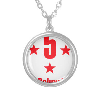 5 stars deluxe silver plated necklace