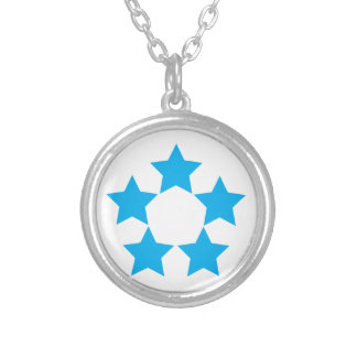 5 stars in blue silver plated necklace