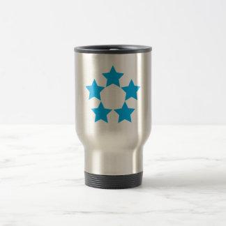 5 stars in blue travel mug