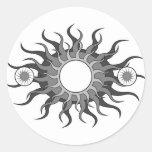 5 suns round sticker