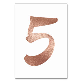 5 Table  Number White Metallic Pink Rose Gold Table Number