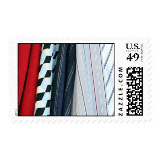 5 telas con los modelos geométricos - medio sello postal