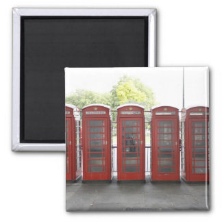 5 telephone boxes in London 2 Inch Square Magnet