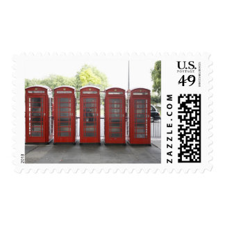 5 telephone boxes in London Postage Stamp