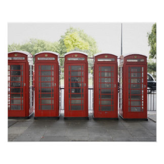 5 telephone boxes in London Poster
