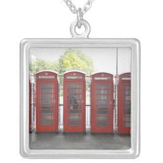 5 telephone boxes in London Silver Plated Necklace