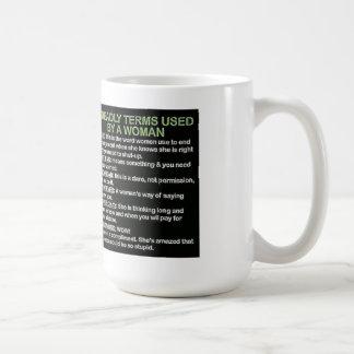 5 términos mortales usados por una mujer tazas