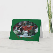 5 toy tractors at christmas holiday card