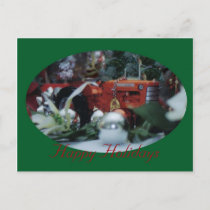 5 toy tractors at christmas holiday postcard