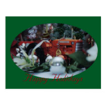 5 toy tractors at christmas postcard
