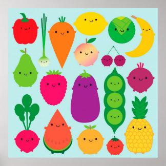 5 una fruta y verduras del día póster