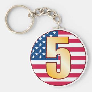 5 USA Gold Basic Round Button Keychain