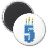 5 velas del cumpleaños (azul/verde) imanes de nevera