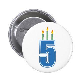5 velas del cumpleaños azul verde pins