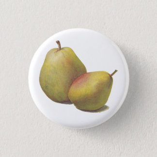 5 vintage pears illustrated button