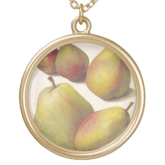 5 vintage pears illustrated gold plated necklace