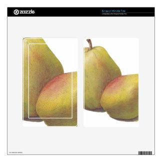 5 vintage pears illustrated kindle fire skin