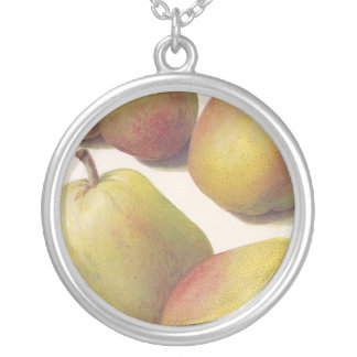 5 vintage pears illustrated silver plated necklace