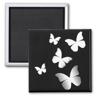 5 White Butterflies 2 Inch Square Magnet