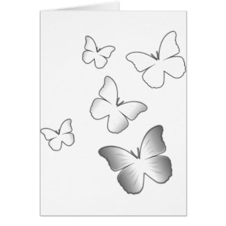 5 White Butterflies Card