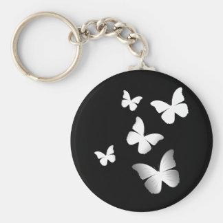 5 White Butterflies Keychain