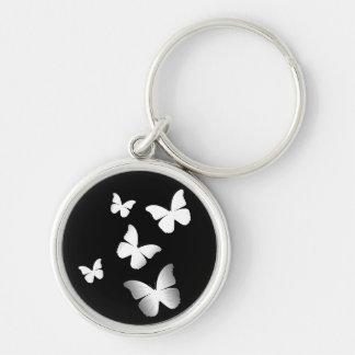 5 White Butterflies Keychains