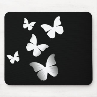 5 White Butterflies Mouse Pad