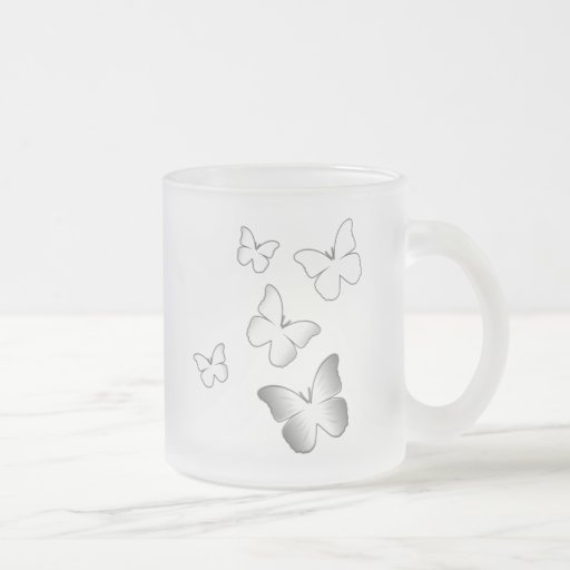 5 White Butterflies Mugs