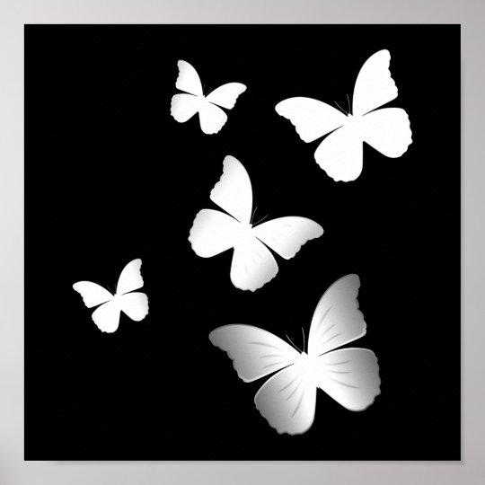 5 White Butterflies Poster