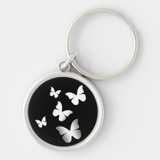 5 White Butterflies Silver-Colored Round Keychain