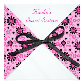 """5""""x5"""" Square Pink and Black Formal Invitation"""