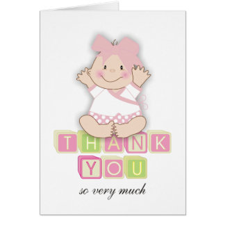 "5""x7""Baby Shower Matching Baby Girl Thank You Card"