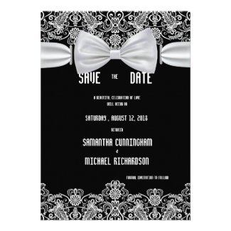 """5""""x7"""" Vintage Lace Bow Wedding Save The Date Card"""